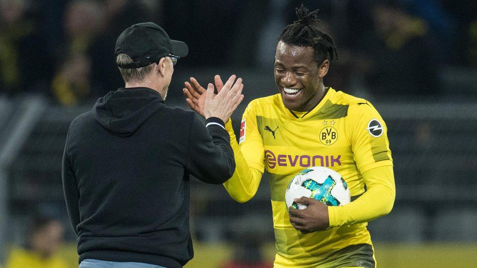 Rettete dem BVB mal wieder den Allerwertesten in der Bundesliga: Winterneuzugang Michy Batshuayi (mit Ball)