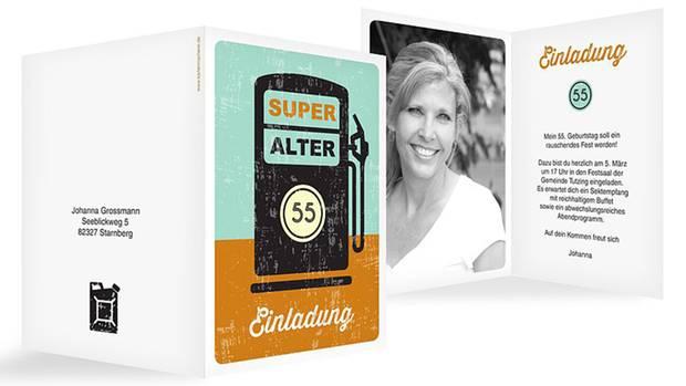 """Motiv """"Super Alter"""" - einer der Bestseller für Geburtstagseinladungen"""