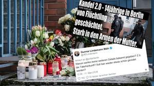 Blumen vor dem Haus der getöten 14-Jährigen in Berlin, zweoScreenshots