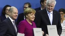 Die Spitzen von SPD, CDU und CSU: Olaf Scholz, Angela Merkel, Horst Seehofer (v.l.n.r.)