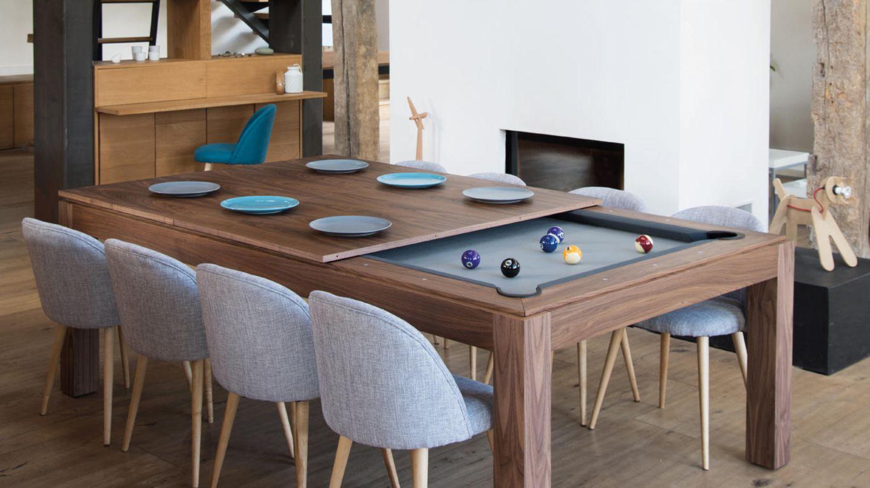 Der Billard-Esstisch: Wer nicht den Luxus eines eigenen Billardzimmers hat, kann sich vielleicht für den Fusiontable von Aramith begeistern. Nimmt man die Tischplatte ab, verwandelt sich der Ess- in einen Spieltisch.