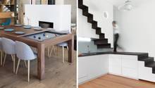 Collage: Esstisch, Treppe