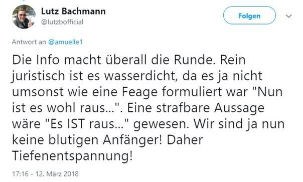 Mit diesem Tweet versucht Lutz Bachmann, seine falsche Anschuldigung zu rechtfertigen
