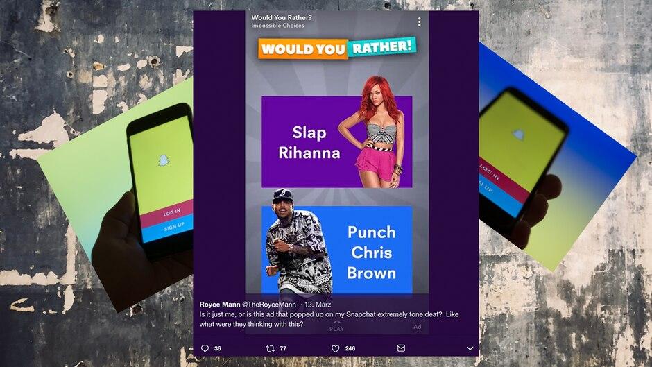Ein Screenshot einer Snapchat-Werbung