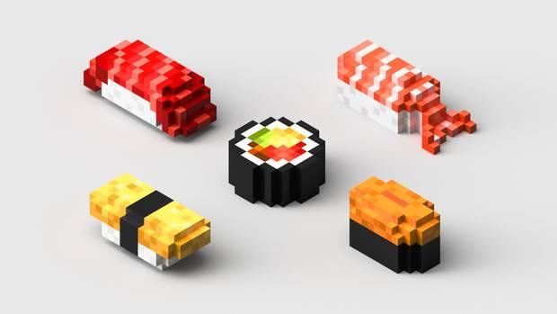 Ausgedrucktes Sushi in allen Variationen: Sushi aus essbaren Gelkissen