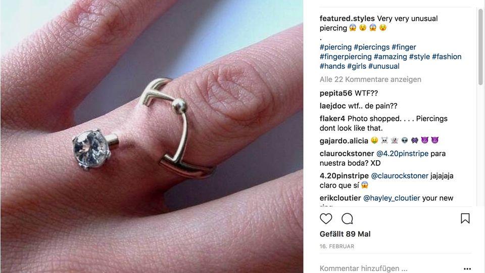 Ein Screenshot eines Fotos eines Piercingrings bei Instagram