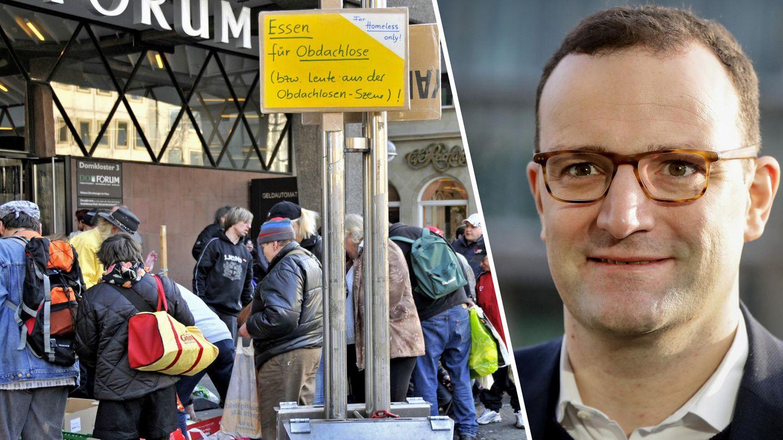 Armut: Obachlose an einer Essensausgabe, Jens Spahn