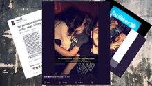 Eine Selfie von Twitter, das ein Mädchen und einen Jungen zeigt, das gerade knuscht