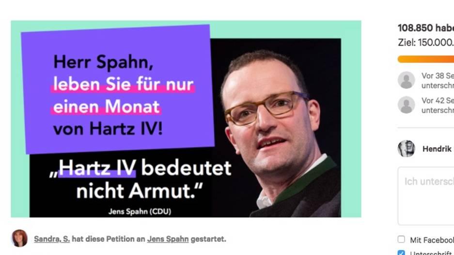 Screenshot der change.org-Petition zu Jens Spahn