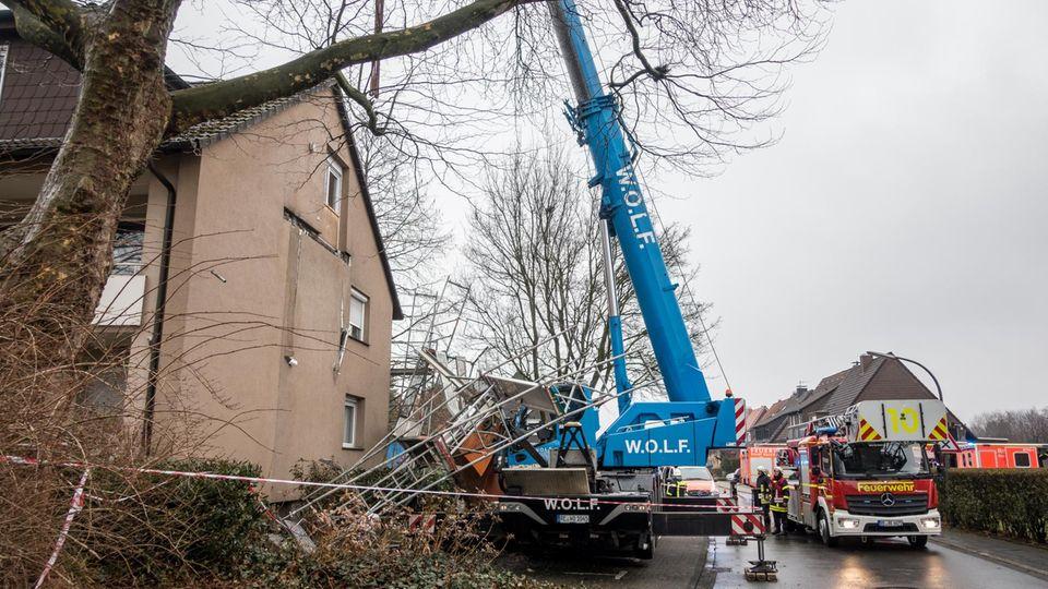 In Recklinghausen stürzte eine Balkonplatte ab