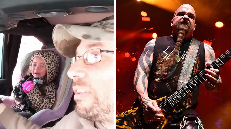links das weinende vierjährige Mädchen, rechts der Gitarrist von Slayer