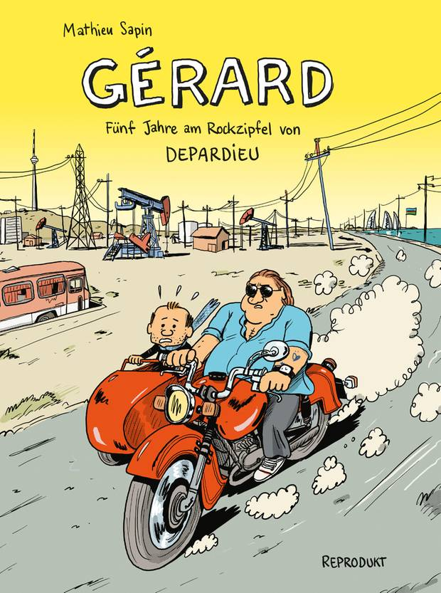 """Das Cover des Comics """"Gérard. Fünf Jahre am Rockzipfel von Depardieu"""" von Mathieu Sapin"""