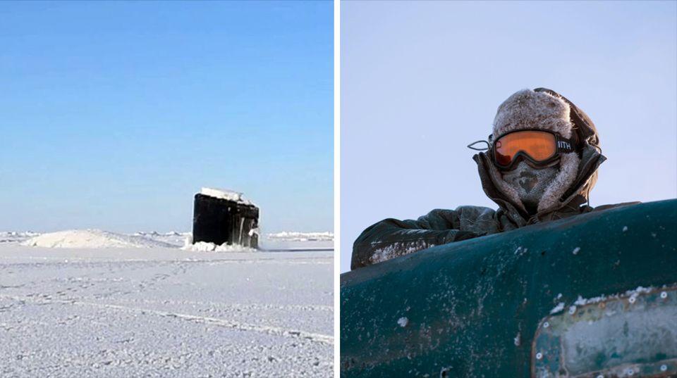 """Ein Besatzungsmitglied der """"USS Hartford"""" manövriert das U-Boot kurz nachdem es das Eis durchbrochen hat"""