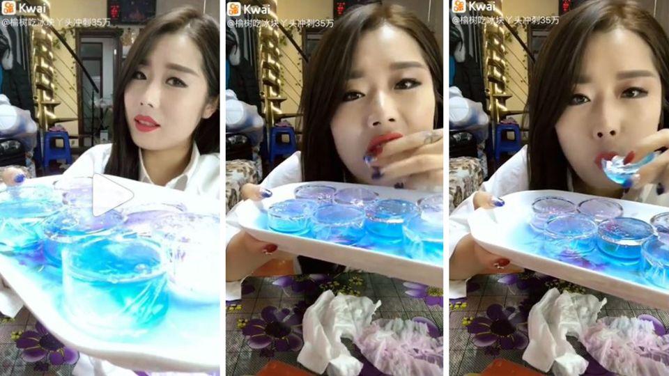 Absurder Social-Media-Trend: Chinesische Frauen kauen Eiswürfel – und alle fragen sich, warum?