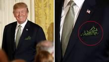 Eine Kombo links zeigt den US-Präsidenten Donald Trump und rechts, dass er Klee in der Tasche für das Eintstektuch trägt