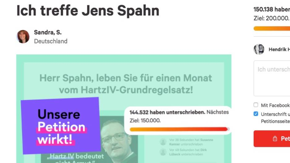 Screenshot der change.org-Kampagne von Sandra S.