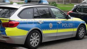 Ein Polizeiwagen aus Nordrhein-Westfalen