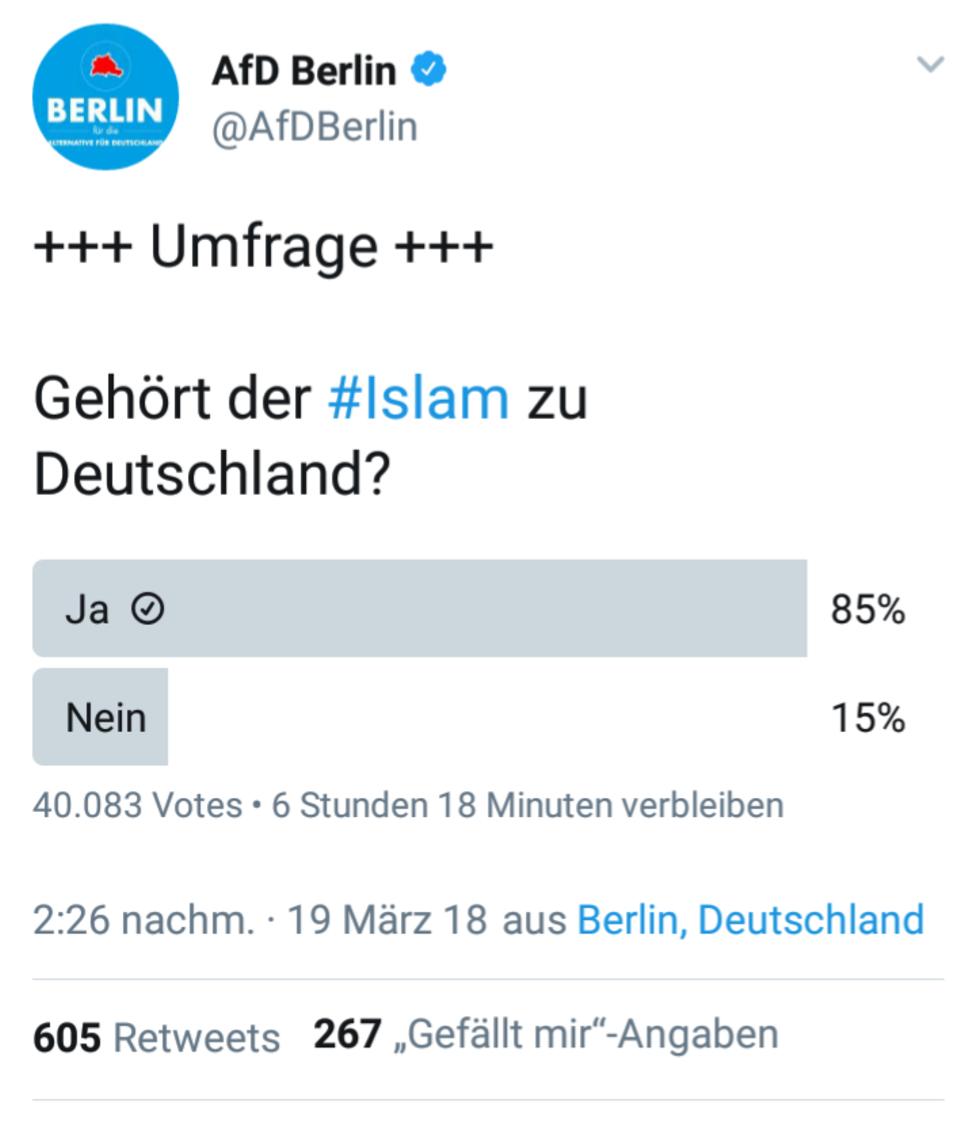 Umfrage der Afd Berlin: Gehört der Islam zu Deutschland? 85 Prozent sagen: Ja