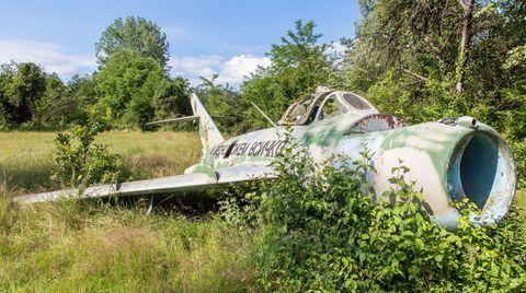 Bild 1 von 12der Fotostrecke zum Klicken:Dieser MiG-Jet ist alles andere als kampfbereit: Mitten im Grünen rostet diese alte sowjetische Maschine friedlich vor sich hin.