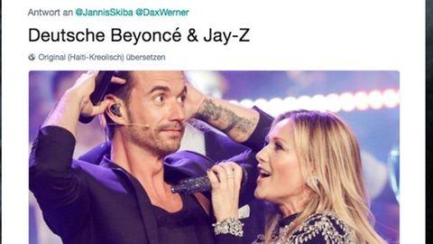Screenshot eines Tweets: Deutsche Beyoncé und Jay-Z, darunter ein Bild von Helene Fischer und Florian Silbereisen