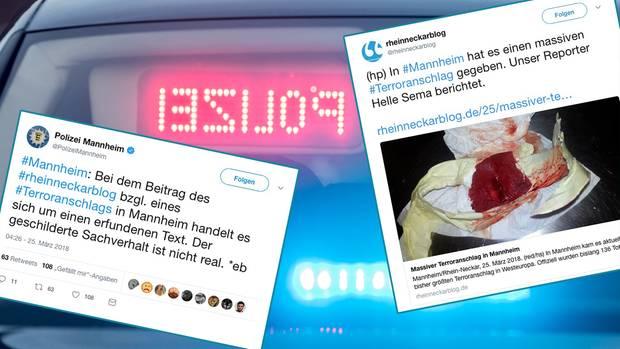 """Rechts der Tweet zur Terror-Falschmeldung des """"Rheinneckarblog"""", links die Warnung der Polizei vor der Fake News"""