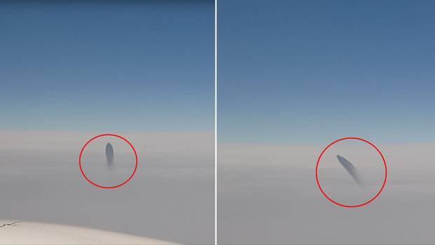 Eine Kombo zeigt ein dunkles Flugobjekt, das vertikal durch die Wolkendecke stößt und dann nach links schwenkt