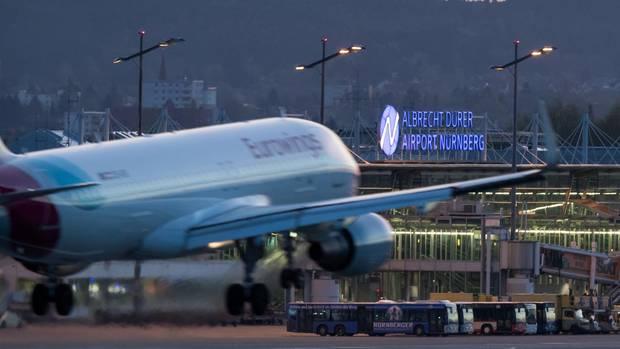 Eine Eurowings-Maschine am Flughafen Nürnberg