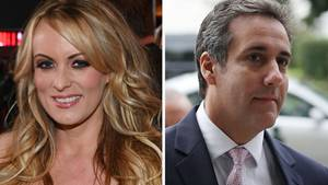 Eine Bildkombo zeigt links Stormy Daniels, eine Frau mit langen, blonden Haaren und rechts Michael Cohen mit angegrauten Haaren