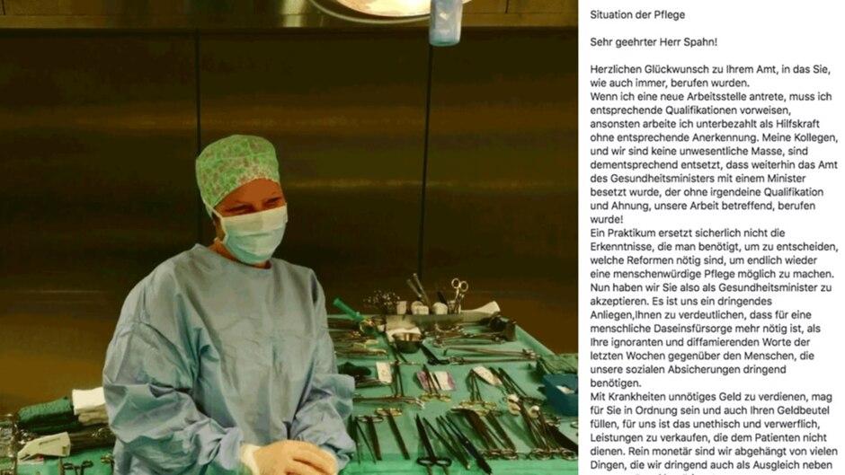 Screenshot eines Bildes von Jana Langer, daneben ihr Brief an Jens Spahn
