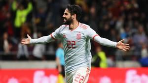 Isco im Trikot Spaniens beim Spiel gegen Argentinien