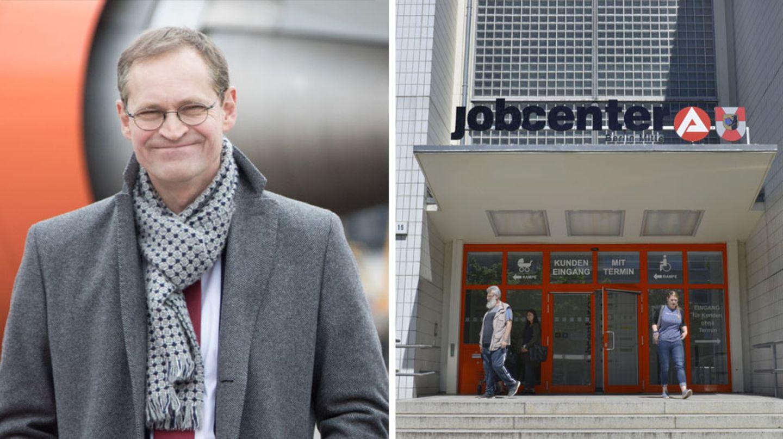 Hartz-IV-Debatte: Berlins Regierender Bürgermeister Michael Müller, der Eingang zu einem Jobcenter