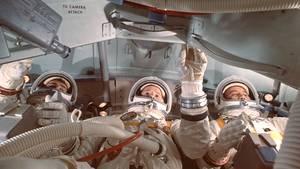 Astronauten Ed White, Roger Chaffee and Gus Grissom während einer Trainingseinheit