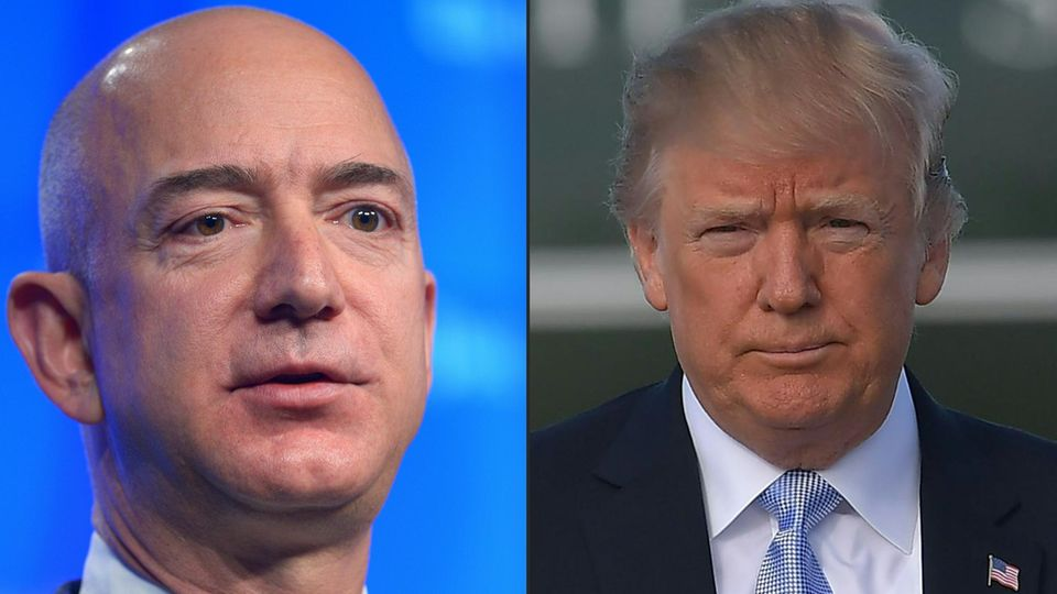 Combo: Amazon Chef Jeff Bezos und US-Präsident Donald Trump