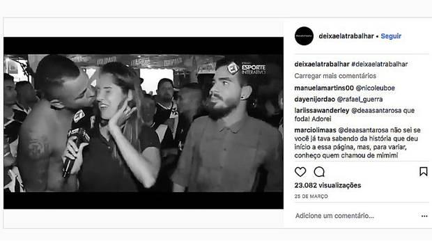 Ein Sportler versucht live vor der Kamera, die brasilianische Journalistin Bibiana Bolson zu küssen.