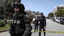 Polizei sichert Gegend um Youtube-Hauptsitz in San Bruno, Kalifornien, ab