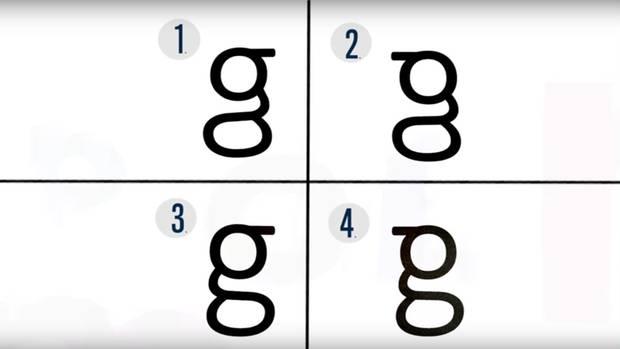 """Wissen Sie, welche dieser Schreibweisen des kleinen """"g"""" korrekt ist?"""