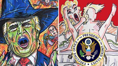 Eine bunte Zeichnung von Jim Carrey zeigt Donald Trump mit aufgerissenem Mund und spitzem Hexenhut auf dem Kopf
