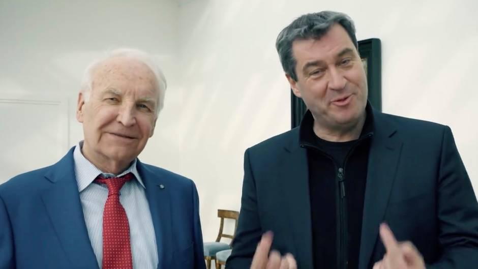 Bizarres CSU-Video: Fremdscham in der Staatskanzlei: Wie sich Stoiber und Söder gegenseitig bauchpinseln