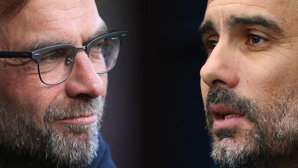 Liverpool-Coach Jürgen Klopp (l.) und sein Kollege von Manchester City, Pep Guardiola, kennen sich bereits aus der Bundesliga