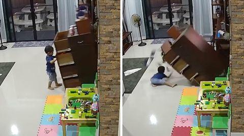 Kind wird fast von Kommode erschlagen