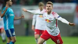 Time Werner jubelt über sein 1:0 für RB Leipzig gegen Olympique Marseille in der Europa League