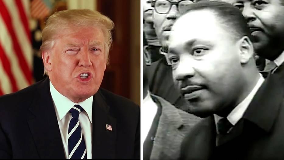 Eine Bildkombo zeigt links US-Präsident Donald Trump vor einer US-Flagge, rechts ein Schwarz-weiß-Bild von Martin Luther King