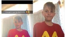 Screenshot vom Post der Mutter mit Bild vom Shirt des Jungen