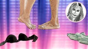 Abbildung von den Füßen eines Pärchen, umgeben von Unterwäsche