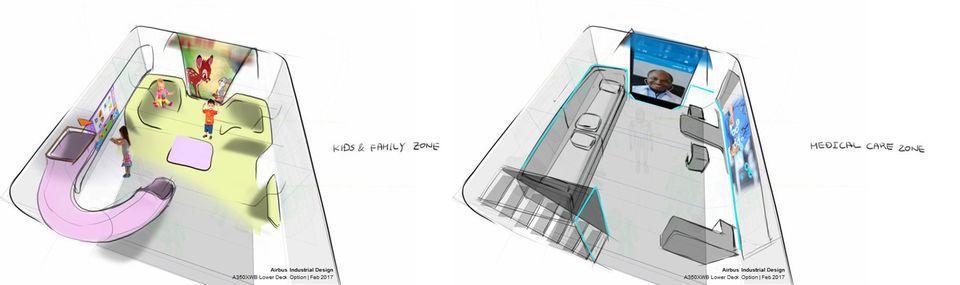 Denkbar auch im Unterdeck: Ein Spielplatz für Kinder oder als Transportraum für erkrankte Passagiere.