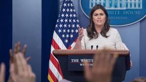 Sarah Sanders betont, die von Donald Trump angekündigten Raketen auf Syrien sind nur eine Option