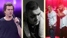 Die Rapper Fler, Farid Bang und Kollegah und Campino auf einem Bild