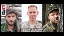 Ihr eigentlicher Krieg begann erst nach dem Gefecht am Karfreitag 2010: Taliban-Kommandant Habib (l.), US-Pilot Jason LaCrosseund Bundeswehrsoldat Maik Mutschke
