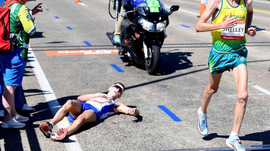 Der Läufer Schotte Callum ist bei den Commonwealth Games kurz vor dem Ziel zusammengebrochen