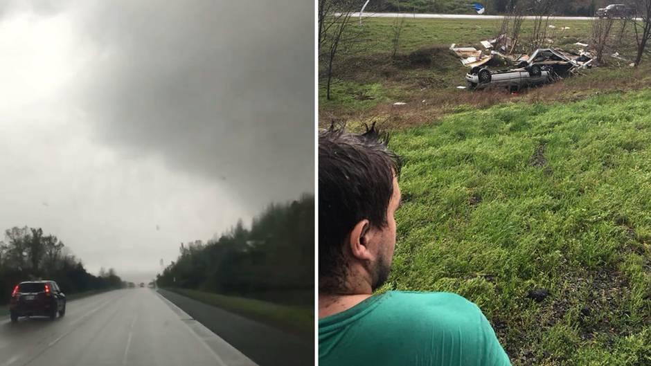Virales Video: Paar filmt den Moment, in dem ein Tornado sie und ihr Auto erfasst